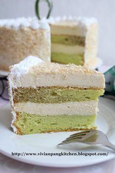 Pandan chiffon cake with gula melaka mousse