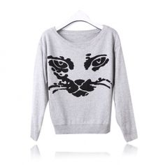 Casual Loose Fitting Cat Print Scoop Neck Long Sleeve Sweater for Women (GRAY,ONE SIZE) China Wholesale - Sammydress.com