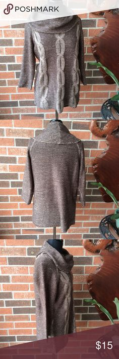 """New York Collection Sweater EUC Light weight enough for spring evenings. Winter wear add a shirt underneath. Soft cocoa brown with beige threads. 100% acrylic. Garment length 20.5""""; arm length 20"""". New York Collection Sweaters Cowl & Turtlenecks"""