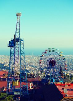 Tibidabo Amusement Park. Take the train/tram up. One of the oldest amusement parks in the world.  Go when the sky is clear for best views. #barcelona #spain #tourist #bcn