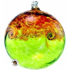 Kitras Van Glow Witch Ball Ornament in Lime Green Amber Gold Swirled Sky www.aloveofdogs.com