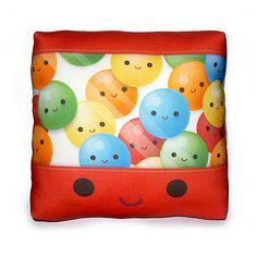 Mini Pillow - Yummy Gumballs. $18.00, via Etsy.
