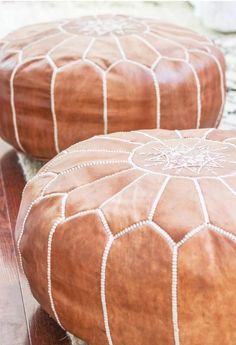 How to Buy Leather Moroccan Poufs on the Cheap- Boho Leather Ottomans Leather Poof, Leather Pouf Ottoman, Moroccan Leather Pouf, Moroccan Pouf, Real Leather, Leather Sofas, Moroccan Tiles, Moroccan Decor Living Room, Diy Living Room Decor