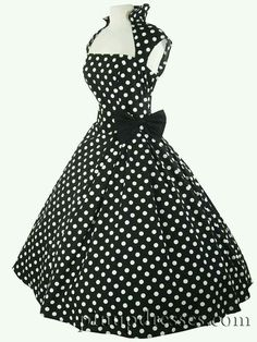 Gorgeous retro style black and white polka dot full skirt dress! Fit and flare, New Look style. Full skirt, approx below calf. Pin Up Dresses, 50s Dresses, Pretty Dresses, Homecoming Dresses, Vintage Dresses, Beautiful Dresses, Vintage Outfits, Cotton Dresses, Summer Dresses