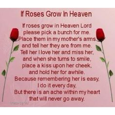 I Love you Mom.  Yesterday, was your Birthday and I thought of you all day.                Rest In Peace and we will see each other one day.  xoxoxoxo your Daughter
