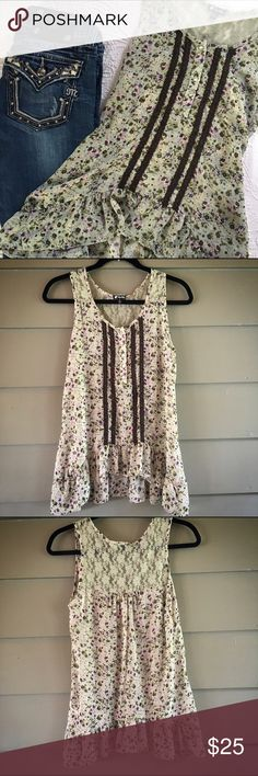🌸 Lily White Floral Tank This is so pretty. Floral with Lace, nice and soft. 100% polyester. Machine wash cold, line dry. Lily White Tops Tank Tops