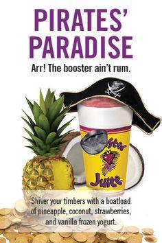 The Booster Juice Pirate's Paradise! Yogurt Ice Cream, Vitamix Recipes, Juice Smoothie, Rum, Pirates, Pineapple, Recipies, Paradise