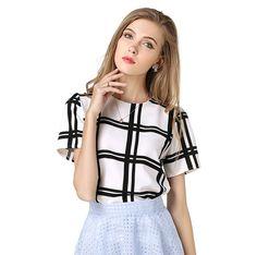 2017 New Fashion Women Summer Chiffon Blouse Shirts Tops Casual Loose black white plaid blouses Blusas Tops plus size NT13