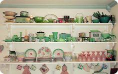 Vintage green & pink kitchen shelves