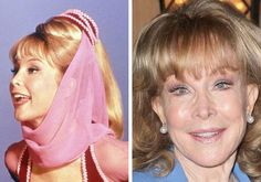 """Barbara Eden is an American film, stage, and television actress, comedian, and singer. She is known for her starring role of """"Jeannie"""" in the sitcom """"I Dream of Jeannie"""". She played the perfect Genie. Actors Then And Now, Celebrities Then And Now, Stephane Audran, Feminine Face, Tv Icon, Barbara Eden, I Dream Of Jeannie, Great Smiles, Famous Women"""