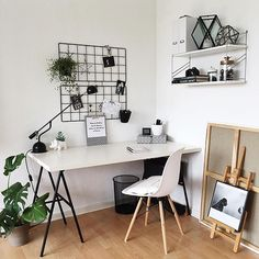 White workspace with Ikea Barsö grid board // via @workspacegoals on Instagram