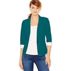 kensie Three-Quarter-Sleeve Blazer (25.670 HUF) ❤ liked on Polyvore featuring outerwear, jackets, blazers, 3/4 sleeve jacket, shiny jacket, 3/4 sleeve blazer, fitted blazer and kensie jacket