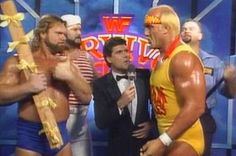 WWF (WWE) SURVIVOR SERIES 1990 -  The Hulkamaniacs talk to Sean Mooney about their match against The Natural Disasters.
