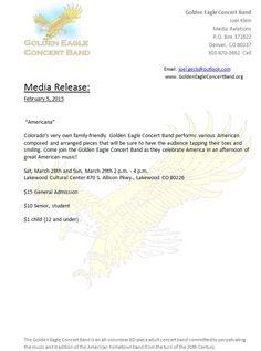 Golden Eagle Concert Band Concerts March 28 & 29 Lakewood Colorado Cultural Center 2:00pm http://www.goldeneagleconcertband.org