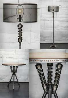 """Classified Moto have sent us photos of their recycled vintage lamps and tables made of salvage bikes... """"Classified Moto is a small shop specializing in quirky vintage custom bikes and other unique moto expressions."""
