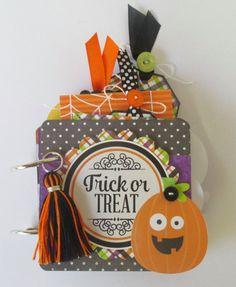 Doodlebug Boos and Brews Mini Album Halloween Mini Scrapbook Album by PaperPrettyBoutique on Etsy
