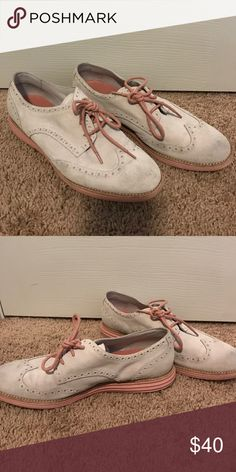 Cole Haan grey suede oxfords Super comfy grey suede oxford with pink bottoms! Cole Haan Shoes