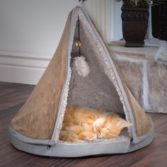 """Petmaker 18"""" Sleep & Play Cat Bed Removable Teepee Top"""