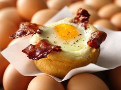 Bacon and Egg Savory Cupcakes Recipe, three of my favorite things, Biscuits, Bacon & Eggs!