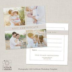 Modèle de certificat-cadeau de photographie par ClickChicksDesigns