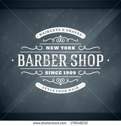 Barber shop vintage retro vector window advertising typographic design template - Shutterstock Premier