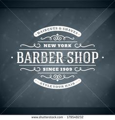 Barber shop vintage retro vector window advertising typographic design template - Shutterstock Premier