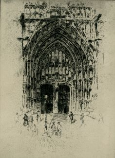 Joseph Pennell - South Door, Beauvais - etching - 1907