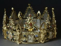 Reliquary Crown - Couronne de Liège (Liège Crown). Given by Louis IX King of France to the Dominicans of Liège. Contains many relics. 13th. Louvre Paris.