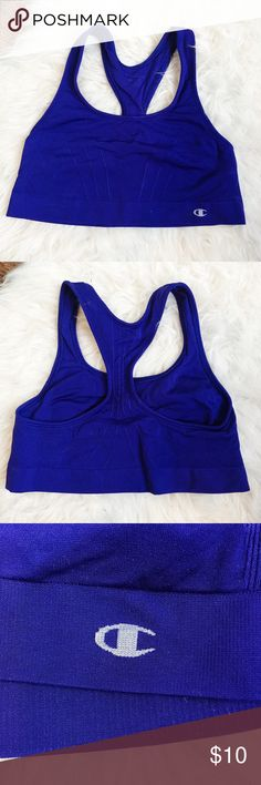 Champion sports bra Blue Champion sports bra, size M; the color is a little darker than the pictures. This was worn for leisure, not working out so it's in great condition! Light to medium support Champion Intimates & Sleepwear Bras