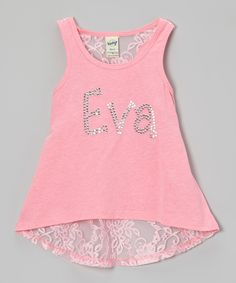 Look at this #zulilyfind! Rhinestone Fabuless Pink Rhinestone Lace Personalized Tank - Toddler & Girls by Rhinestone Fabuless #zulilyfinds