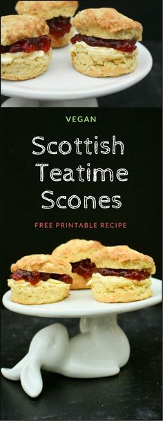 Light and fluffy Scottish scones with a good rise made to a vegan recipe. Perfect for a teatime treat with dairy free spread and jam. Free printable recipe. #scones #scottishscones #veganscones #veganbaking #scottish #vegan #scottishbaking #teatime #afternoontea #dairyfree #dairyfreescones #scotland #recipe #veganrecipe #dairyfreerecipe