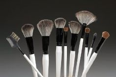 10 Pc. White Brush Set by Gitana & Co.. $100.00. Set includes: Powder Brush, Finishing Blush Brush, Stiff Dome Face Brush, Angled Blush Brush,. Brushes come with a Quality Black Leatherine Case Pictured Above. 100% Cruelty Free: NO ANIMALS WERE HARMED IN THE MANUFACTURING OF THESE BRUSHES. Blending brush, Stiff Dome Eye Brush, Angled Eye Brush, Fan Brush, Eyeliner Brush, Lash/Brow Groomer. Professional, High-Quality, & Beautifully Crafted (10 Piece) White Brush Set w/...