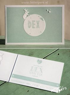 letterpers_letterpress_geboortekaartje_Dex_maan_Love_mintgroen_preeg