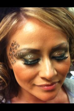 Ready to party in my leopard costume: makeup by www.noraartistry.com