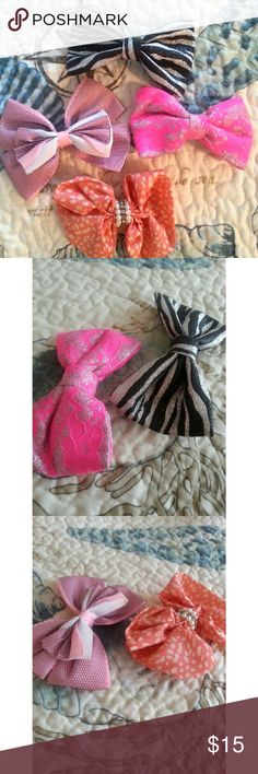 Bow bundle Bow bundle - 4 bows - light pink black & white with sassy fishnet lace - coral/pink & white polka dots with pearl & diamond sparkle - silver & black glittery zebra print - hot pink and silver lace Accessories Hair Accessories