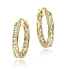 18k Gold over Silver 20mm Channel Set CZ Hoop Earrings - http://www.wonderfulworldofjewelry.com/jewelry/18k-gold-over-silver-20mm-channel-set-cz-hoop-earrings-couk/ - Your First Choice for Jewelry and Jewellery Accessories