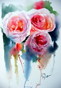Fleurs - Jean Claude Papeix - Picasa Web Albums by DeVaneyMade Art Watercolor, Watercolor Flowers, Abstract Flowers, Painting Inspiration, Flower Art, Amazing Art, Art Projects, Illustration Art, Drawing