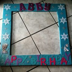 Disney Frozen photo booth frame, made out of styrofoam. I used turquoise acrylic paint and added a touch of glitter spray at the end. My daughter loved it.