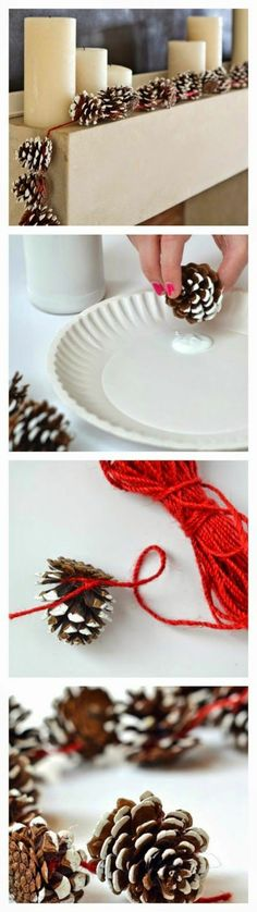 Christmas decoration - elegant deco ideas with cones- Weihnachtsdekoration – elegante Dekoideen mit Zapfen christmas decoration homemade thongs garland - Pine Cone Crafts, Diy And Crafts, Christmas Crafts, Christmas Ornaments, Outdoor Christmas, Winter Christmas, Christmas Time, Homemade Christmas Decorations, Xmas Decorations