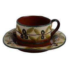 Italian Dinnerware - Latte Cup with Saucer - Handmade in Italy from our Olive Collection -- See this great product.