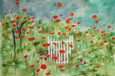 Garden Gate in Fredericksburg by Nan Henke watercolor painting 11x15 Original. A wildflower garden planted by a friend in Fredericksburg, an old German town in Texas. There is no fence, but she added the gate for an artistic pop of white. by Texas Hill Country Art, Boerne,TX