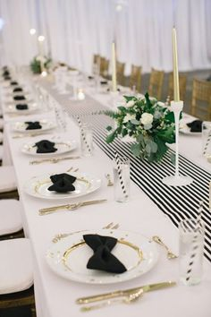 A Black & White wedding table Mary See would be proud to join, especially the bow tie napkins and striped straws Black And White Wedding Theme, Black White Parties, Black Tie Wedding, Gold Wedding, Wedding Table, Trendy Wedding, Wedding Gowns, Bow Tie Napkins, Ideas