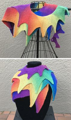 Free Knitting Pattern for Festival Shawl - This shawl is a very long spiral of different size triangles knit in garter stitch. Perfect for gradient and multi-colored yarn. Designed by Frankie Brown. Pictured project by craftydebbi