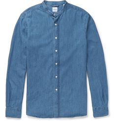 Aspesi Slim-Fit Grandad-Collar Denim Shirt