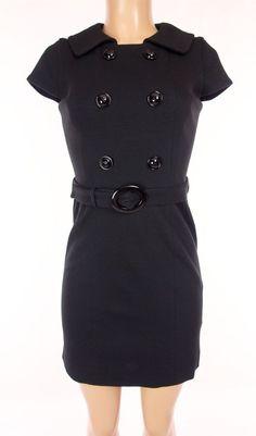 MILLY OF NEW YORK Dress Size P S PS Petite Small Black Buttons Wear To Work #MillyOfNewYork #Sheath #WeartoWork