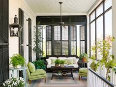 Plantation Shutters don't have to be white! We can customize your shutters to any color you would like. Interior Design Blogs, Outdoor Rooms, Outdoor Living, Southern Front Porches, Porch Privacy, Interior Shutters, Black Shutters, Wood Shutters, Homes With Shutters