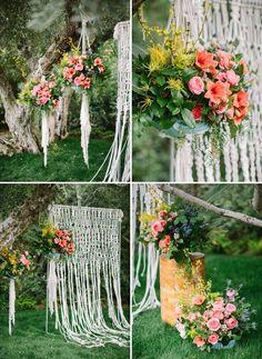 macrame ceremony backdrop || photos by Joielala