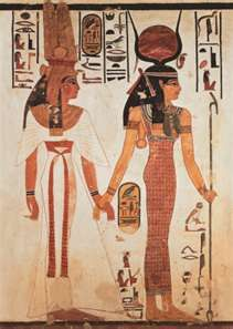 Isis leading Nefertari, Ramesses 1st great royle wife. to the after life.  Left: Kalasiris, wig, falcon headdress Right: Sheath, wig, headdress with Uraeus, Wesekh collar.