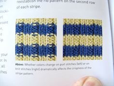 The trick is, if you're knitting stripes and ribbing at the same time, to knit every stitch the first row, then go back to the ribbing on subsequent rows. Ta da! No dashes mucking up your stripey stripes..