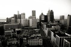 Black and White Downtown Detroit Skyline by MPoirierPhotography, $25.00